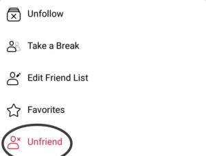 Unfriend the Contact ID